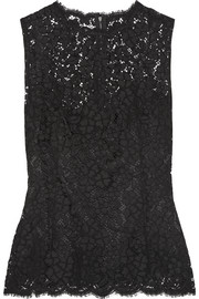 Dolce & Gabbana Scalloped cotton-blend lace top