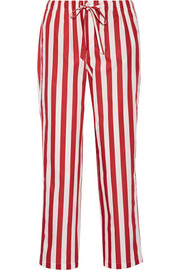 Marina striped cotton-poplin pajama pants