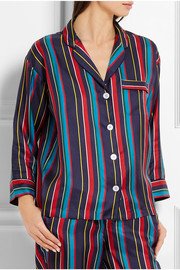 Marina striped silk-charmeuse pajama shirt