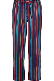 Marina striped silk-charmeuse pajama pants