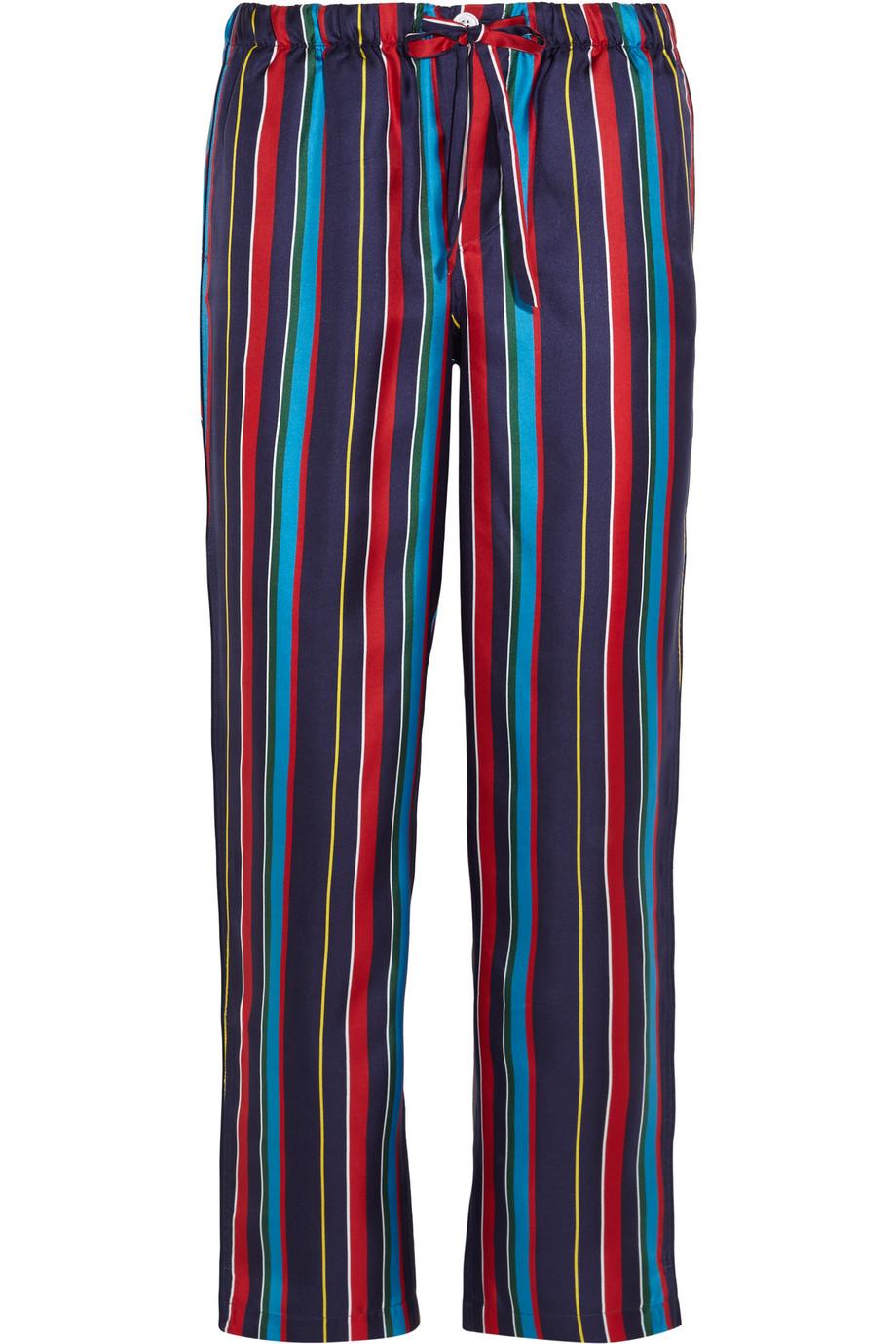 Marina Striped Silk-Charmeuse Pajama Pants, Royal Blue, Women's, Size: L