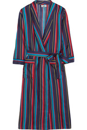 Marianne striped silk-charmeuse robe