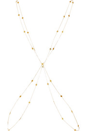 Rhomboid gold-plated body chain