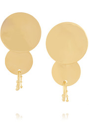 Double Circle gold-plated earrings