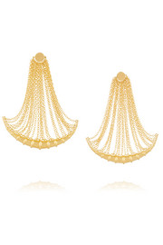 Bamboo fringed gold-plated earrings