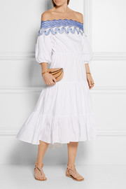 Pallas off-the-shoulder embroidered cotton-blend dress