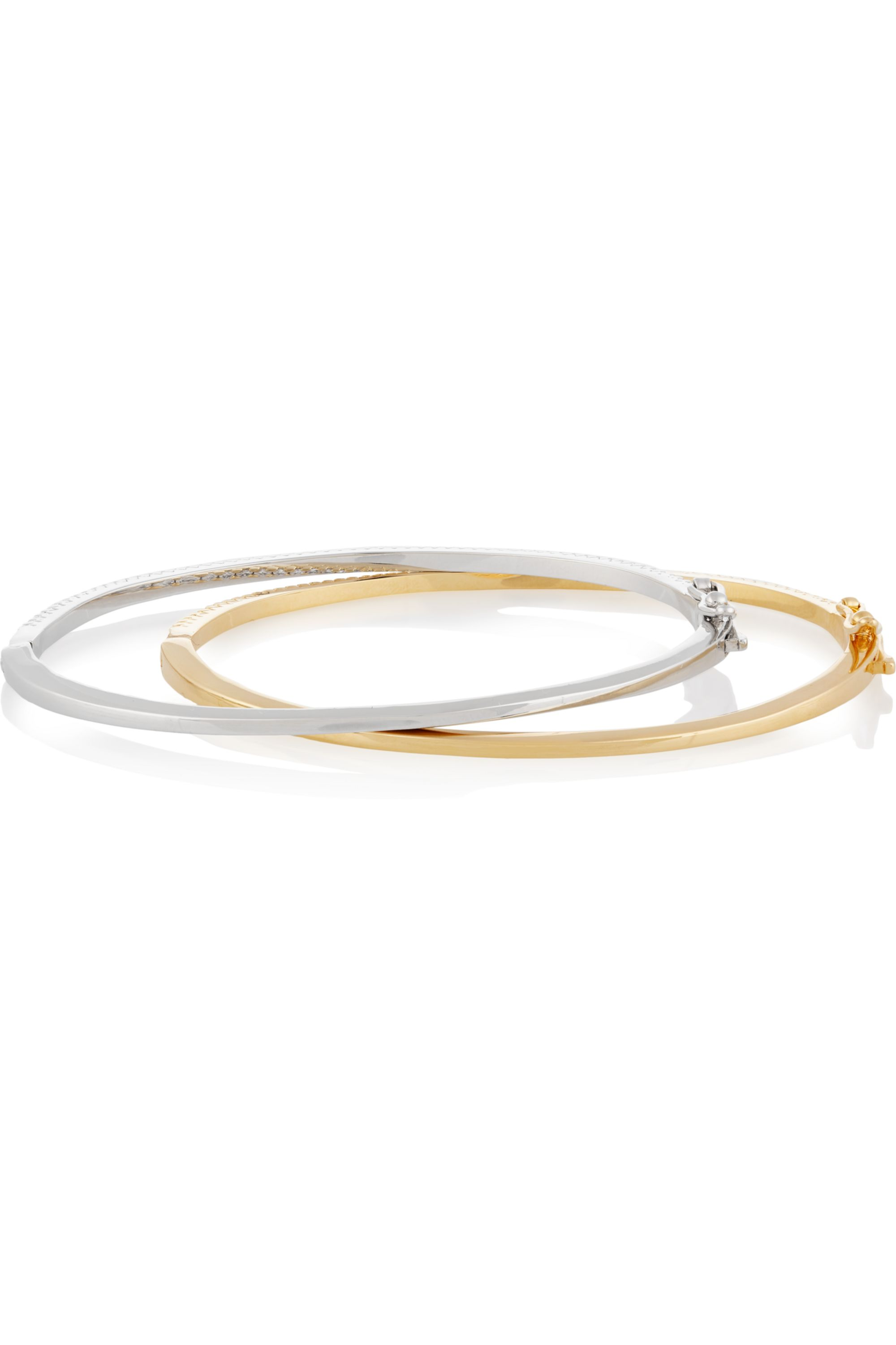 Kenneth Jay Lane Set of two rhodium and gold-plated cubic zirconia bangles
