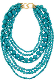 Gold-plated beaded turquoise necklace