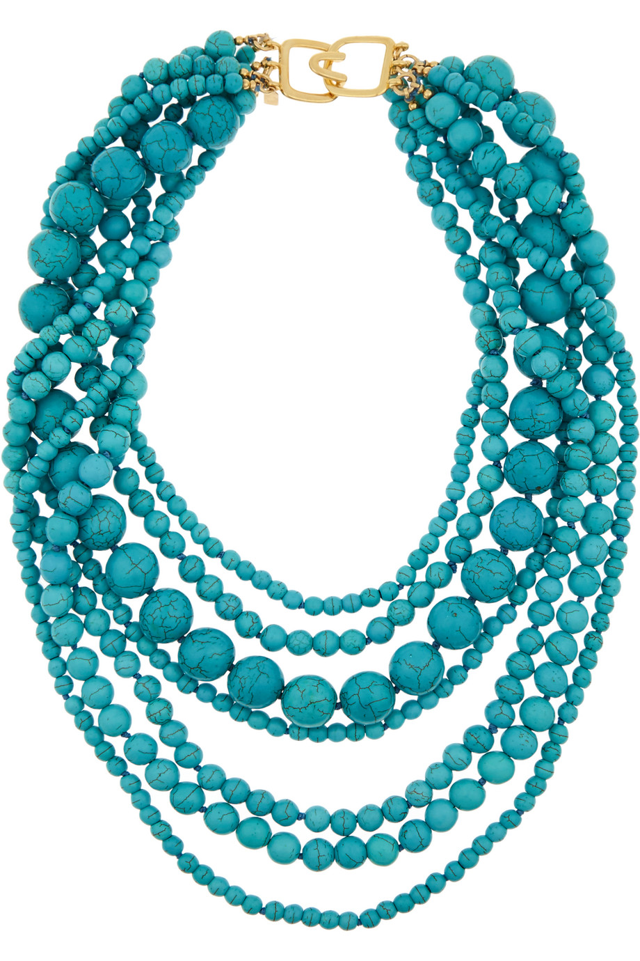 Gold-Plated Beaded Turquoise Necklace, Kenneth Jay Lane, Women's