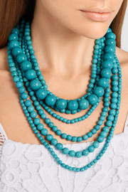 Kenneth Jay Lane Gold-plated beaded turquoise necklace