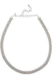 Rhodium-plated crystal necklace