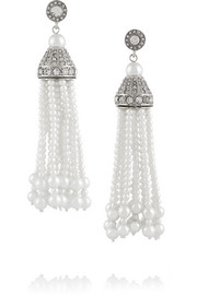 Kenneth Jay Lane Rhodium-plated, faux pearl and crystal tassel earrings