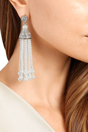 Rhodium-plated, faux pearl and crystal tassel earrings