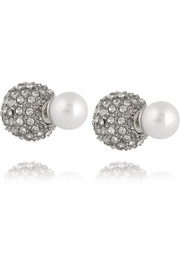 Rhodium-plated, crystal and faux pearl earrings