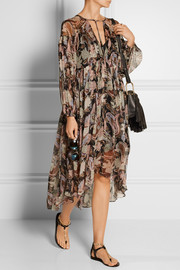 Zimmermann Henna plissé printed silk-georgette midi dress