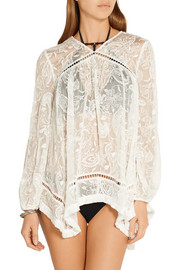 Zimmermann Henna fringed embroidered silk top