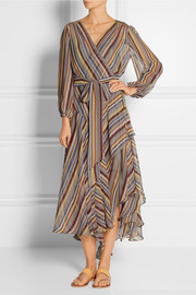 Zimmermann Ticking striped silk-crepe wrap midi dress