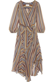 Ticking striped silk-crepe wrap midi dress