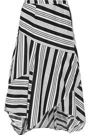Ticking striped linen and cotton-blend wrap skirt
