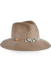 Georgina leather-trimmed wool-felt fedora