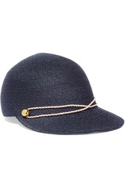 Eugenia Kim Joey faux leather-trimmed woven hemp cap