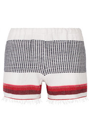 Lula striped cotton-blend gauze shorts