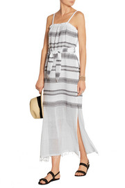 Addis striped cotton-blend gauze dress