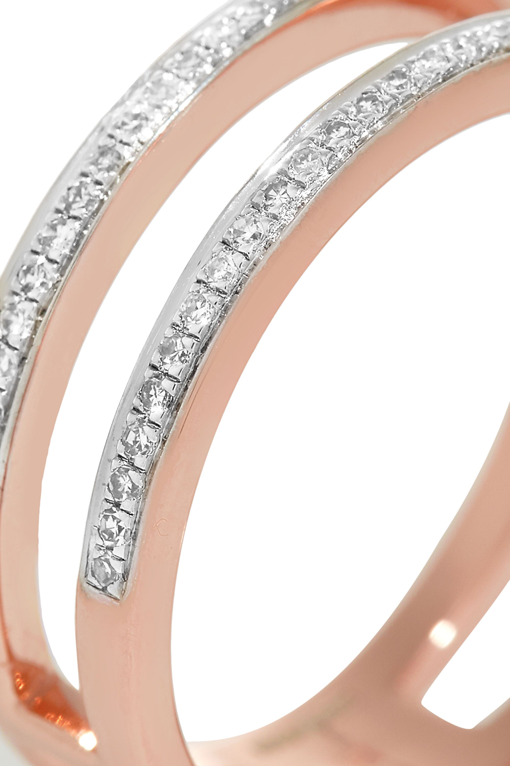 Monica Vinader Skinny Double Band rose gold-plated diamond ring