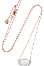 Vega rose gold-plated, diamond and rock crystal necklace