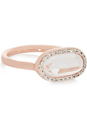 Monica Vinader Vega rose gold-plated, diamond and rock crystal ring