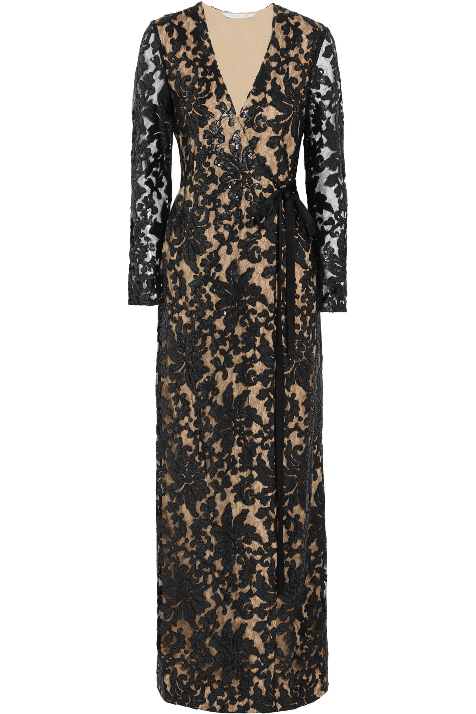 Black Elle Sequin Embellished Lace Wrap Gown Diane Von Furstenberg Net A Porter