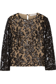 Belle sequin-embellished lace top
