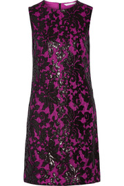 Kaleb sequined appliquéd lace and stretch-crepe dress