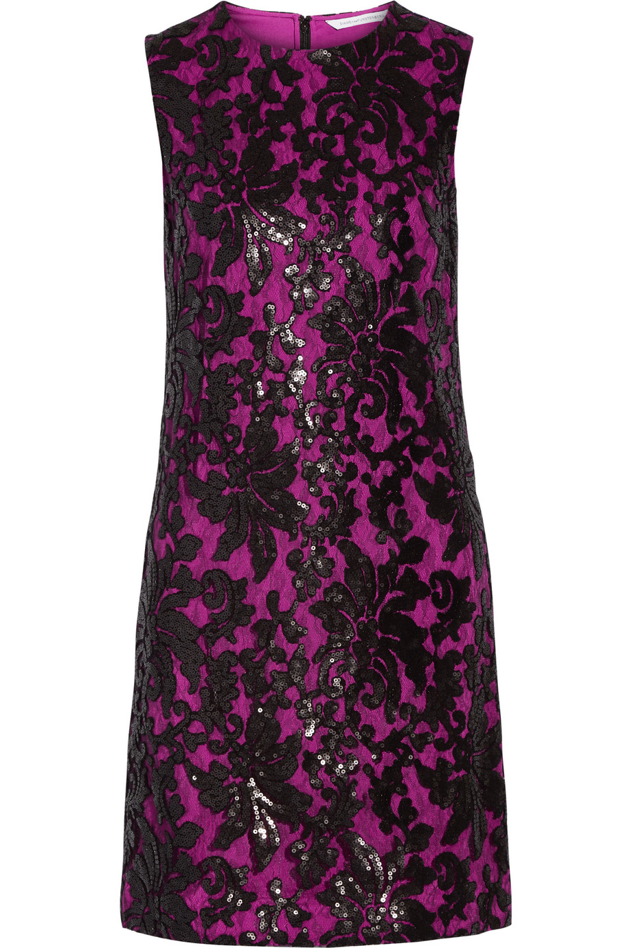 Diane Von Furstenberg Kaleb Sequined Appliquéd Lace and Stretch-Crepe Dress, Fuchsia/Black, Women's - Floral, Size: 14