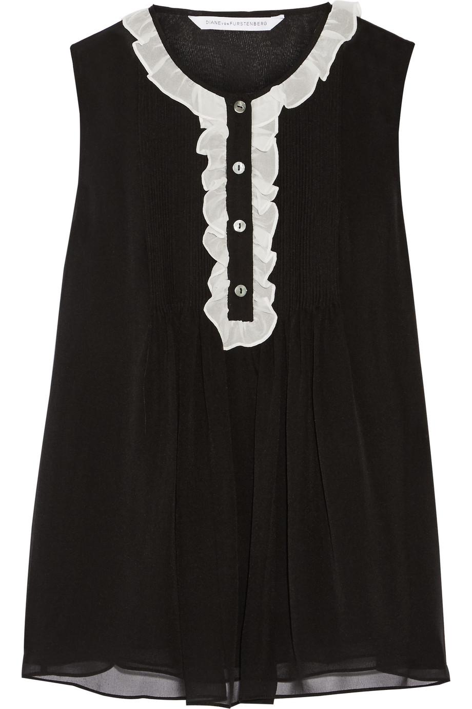 Diane Von Furstenberg Betsy Ruffled Silk-Chiffon Blouse, Black, Women's, Size: 0