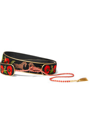 Embroidered cotton-canvas waist belt