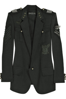 Balmain Cotton-canvas studded military blazer