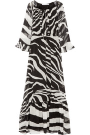 Simonia zebra-print silk-chiffon maxi dress