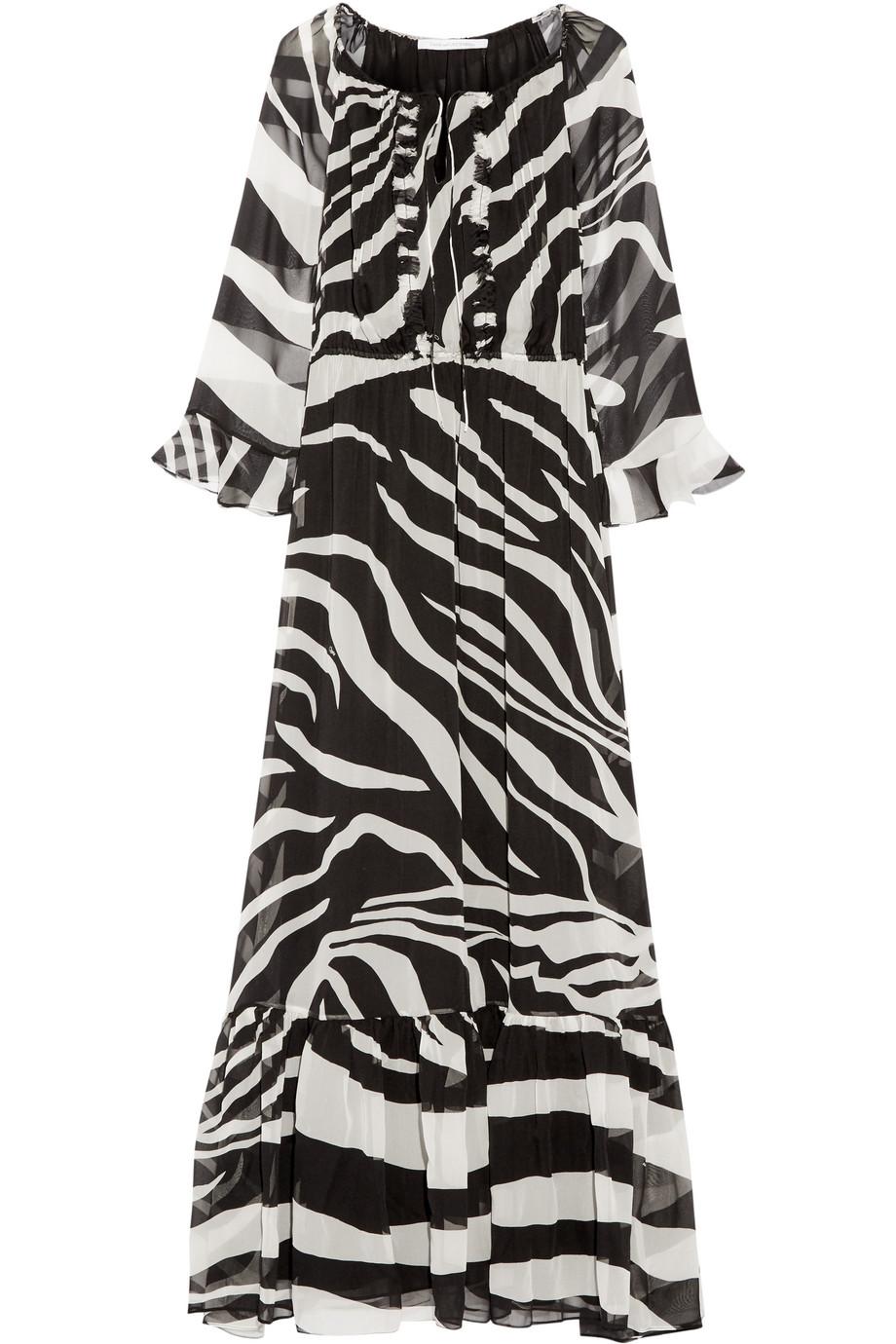 Diane Von Furstenberg Simonia Zebra-Print Silk-Chiffon Maxi Dress, Zebra Print, Women's - Zebra, Size: 4