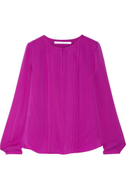 Meadow pleated silk blouse