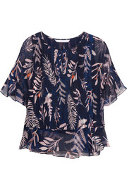 Holody pleated printed silk-chiffon blouse