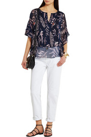 Diane von Furstenberg Holody pleated printed silk-chiffon blouse