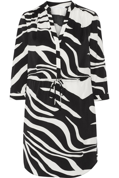 Diane von Furstenberg - Freya Zebra-print Stretch-silk Dress - Black