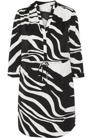 Freya zebra-print stretch-silk dress