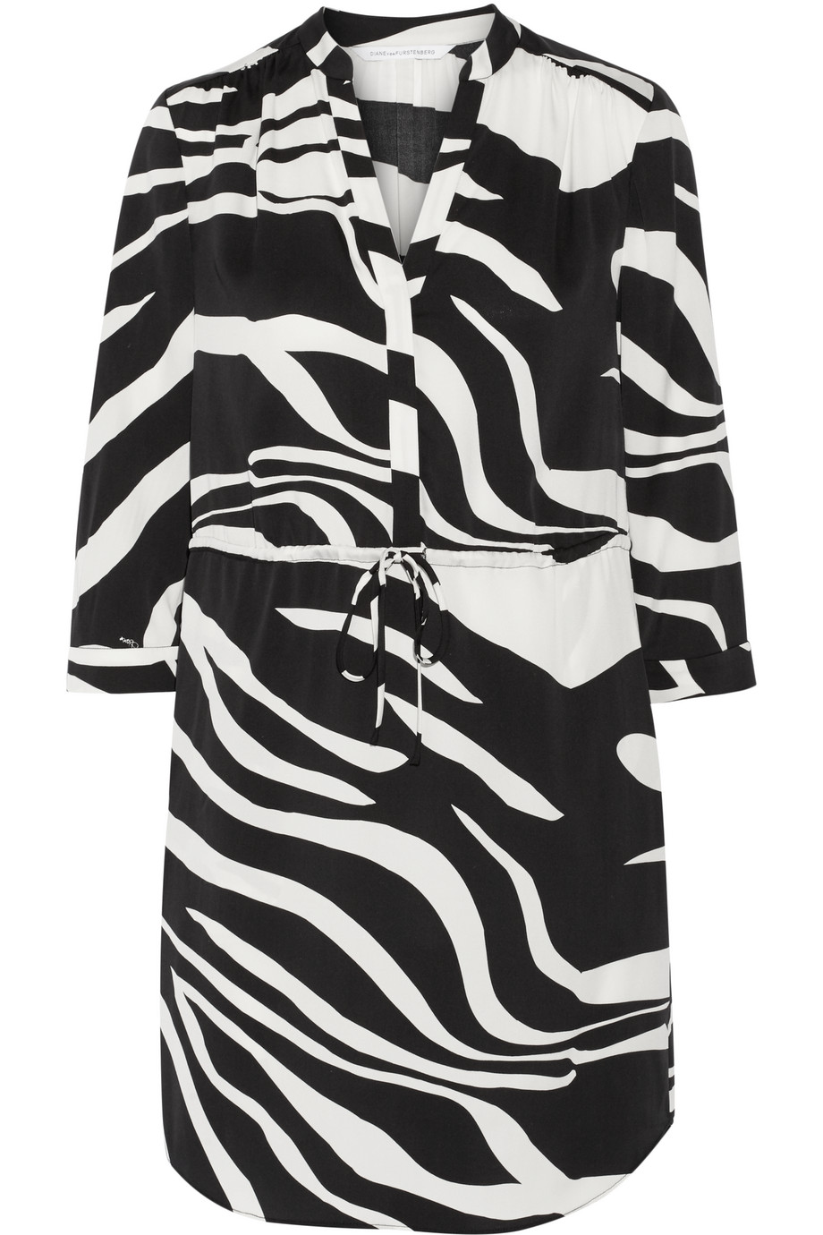 Diane Von Furstenberg Freya Zebra-Print Stretch-Silk Dress, Black/White, Women's - Printed, Size: 12