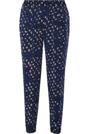 Janeta printed stretch-silk tapered pants