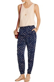 Diane von Furstenberg Janeta printed stretch-silk tapered pants
