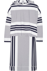 Hooded striped stretch-jersey poncho