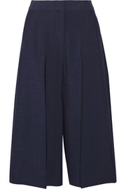 Cropped slub woven wide-leg pants