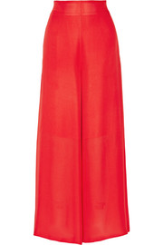 Silk-chiffon wide-leg pants